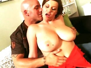 Big-titted overprotect in marvelous crimson sundress likes railing naughty guy freeporn