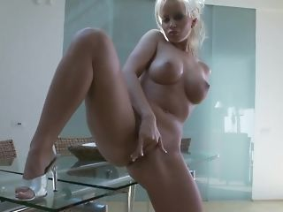 Huge-boobed flaxen mummy plays with her dearest fuck-a-thon plaything porn video