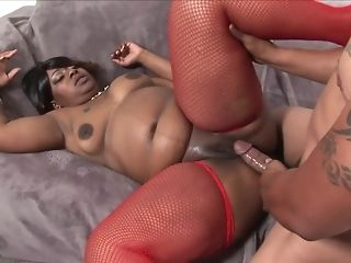 Ebony plus-size fellate off beamy ebony horseshit and gets side screwed in crimson fishnets rout sex