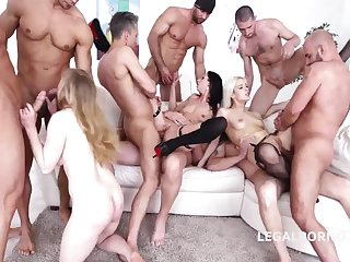 2 insatiable cocksluts are having a insatiable fucky-fucky escapade with a gang of naughty boys